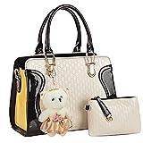 Kingcore Patent Leather Handbag Messenger Bag for Ladies + Small Bag+Bear Key Chain in White&black
