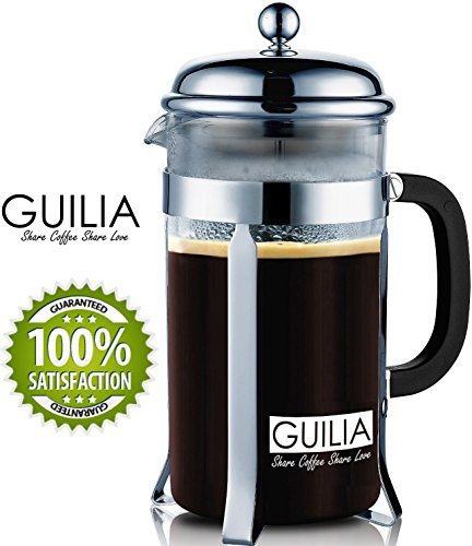 Classic-French-Coffee-Press-Tea-Maker-34OZ8cup-2-BONUS-Replacement-Filters-DOUBLE-Stainless-Steel-Filter-and-Plunger-from-GUILIA-Chrome