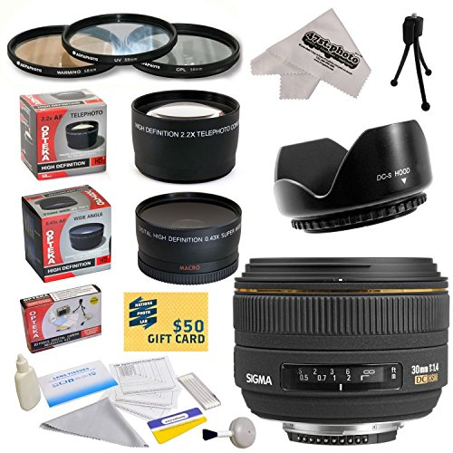 Sigma 30Mm F/1.4 Ex Dc Hsm Autofocus Lens For The Canon Eos Rebel T5, T5I, T4I, T3I, T3, T2I, T1I, Xs, Xsi, Xti, Xt Sl1, 60D, 50D, 40D, 30D, 20D, 7D, 6D, 5D, 1D Dslr Cameras Includes 3 Year Extended Lens Warranty + 0.43X High Definition Ii Wide Angle Pano