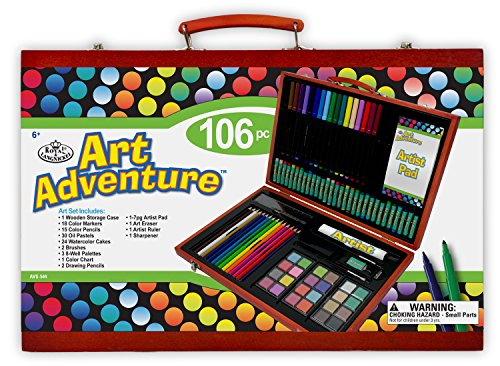 Royal Brush Manufacturing Company Art Adventure 106-Piece Wood Box Art Set