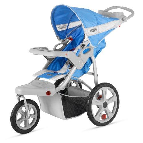 Instep Safari Single Swivel Stroller, Blue/Grey