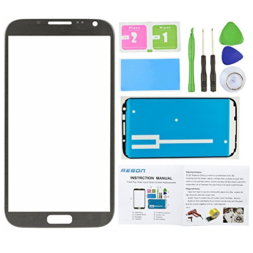 Reson® Titanium Grey Replacement Screen Glass Lens for Samsung Galaxy Note 2 Ii N7100 I317 L900 I605 T889+tools Kit+dry/wet/dust Cleaning Paper+adhesive Sticker Tape (Kit Repair Samsung Note 2 compare prices)
