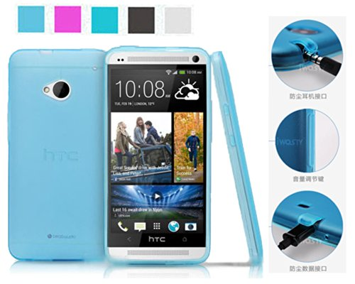 Koppu For Htc One M7 (Inbuilt Dust Plug For Earphone Jack And Charging Port) Slim Fit Semitransparent Tpu Frosted Soft Phone Cover Case (Sky Blue)