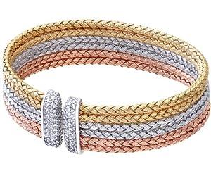 Elegano Calla Gold Plated Silver Tri Coloured Basket Weave Design Cuff Bangle of Diameter 60mm