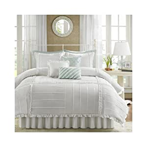 Amazon.com - Madison Park Marlow 7 Piece Comforter Set - White ...