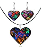 Sterling Silver Dichroic Glass Dark Multi-Colored Heart-Shaped Pendant and Earrings Set, 18""