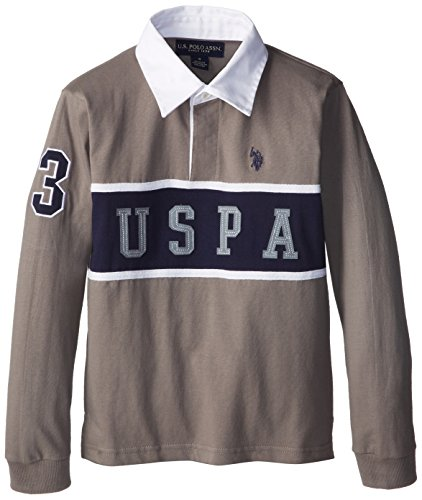 U.S. Polo Assn. Big Boys' Chest Striped Rugby With White Collar, Medium Heather Gray, 10/12