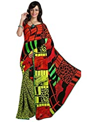 Triveni Indian Saree Beautiful Geometrical Printed Faux Georgette