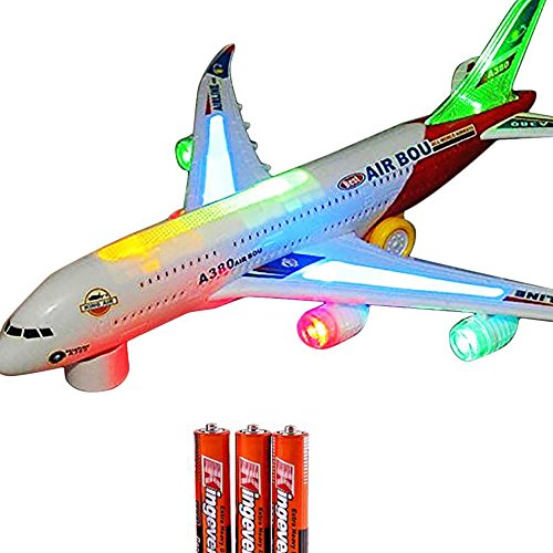 Airplane Airbus Toy With Beautiful Attractive Flashing Lights and Realistic Jet Engine Sounds , Bump and Go Action Battery Included (Colors May Vary) (Klm Model Plane compare prices)