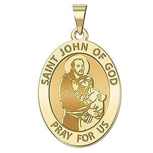 Custom Engraved Saint John of GOD Religious Medal - 1/2 X 2/3 Inch