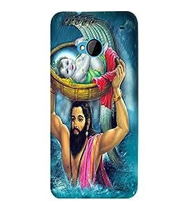 Fuson Premium Sri Krishna Printed Hard Plastic Back Case Cover for HTC One M7