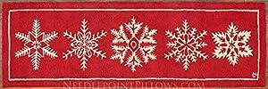 "Handmade Seasonal Red White Snowflake Ski Skiing Lodge 100% Wool Christmas Holiday Hallway Runner Hooked Rug. 2' 6"" x 8'."