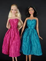 Set of 2 Beautiful Knee Length Dresses in Blue and Pink Made to Fit the Barbie Doll