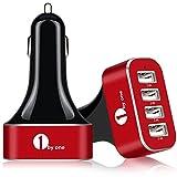 1byone 超小型48W9.6A USB4ポート カーチャージャー、 赤