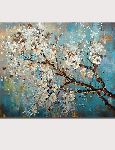 FW@ Mini size hand-Painted Abstract Landscape Modern Blooming Flowers Oil Painting On Canvas Ready To Hang One Panel , l