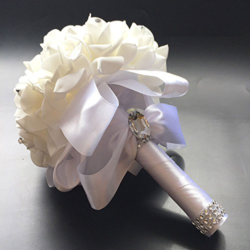 Febou Crystal Roses Pearl Bridesmaid Wedding Bouquet, Bridal Artificial Silk Flowers (White)