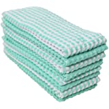 J & M Home Fashions 8-Piece Popcorn Kitchen Towel Set, Solid and Check, Green