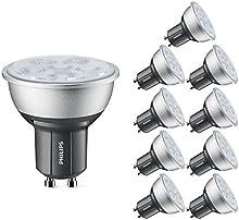 Comprar Philips 45709200 GU10 4,3 W 2700 K clase energética A + + Master LED juego de focos de intensidad regulable, 10 unidades, luz blanca cálida