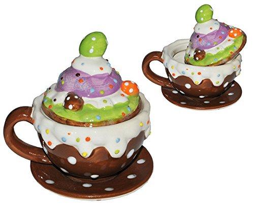 1 Set _ Henkeltasse mit Deckel + Untertasse - Törtchen - aus Porzellan / Keramik - Trinktasse mit Henkel Tasse Becher Porzellantasse - Cappuccino Punkte gepunktet