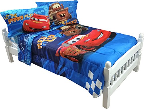 disney cars full bed sheet set lightning mcqueen city limits bedding