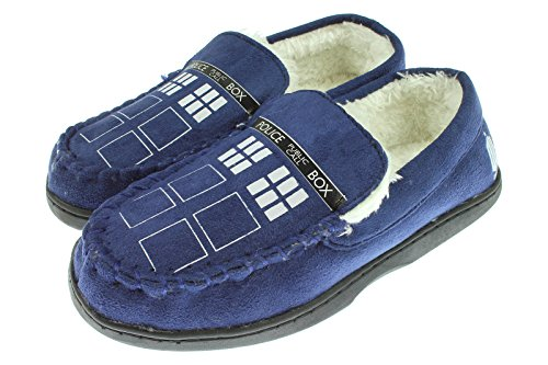 Doctor Who TARDIS Mens Moccasin Slippers Small (Doctor Who Dalek Merchandise compare prices)