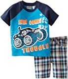 Little Rebels Baby-boys Infant Here Comes Trouble Jersey With Plaid Short Set