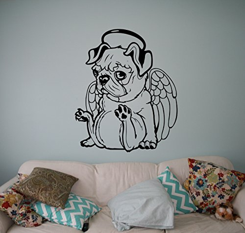 little pug angel wall decal cute puppy dog vinyl sticker animals home interio. Black Bedroom Furniture Sets. Home Design Ideas