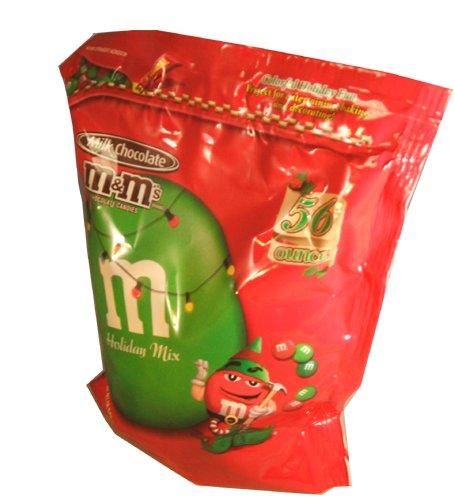 M&M Plain Christmas Hanukah New Years Red and Green Holiday Assortment Candies 56 Ounce Value Bag