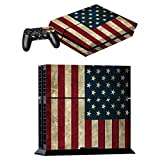 Skin Sticker for PS4 System Playstation 4 Console + Controller Decal USA flag