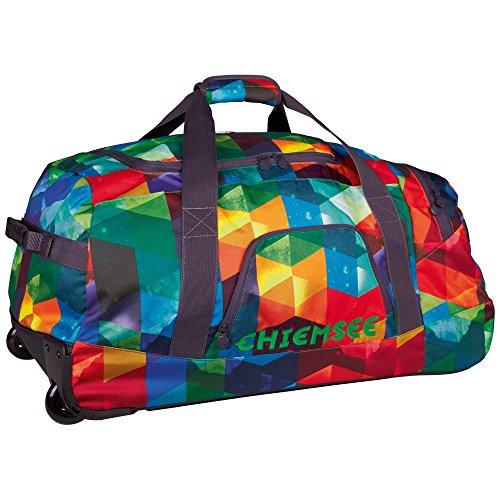 Chiemsee Reisetasche Reisetasche Rolling Duffle, Sehr Schöne Leichte Trendige Freizeittasche mit Trolleyfunktion, Geoform Fern G, 70 x 32 x 41 cm, 5070003