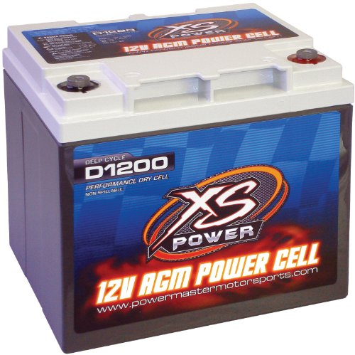 "XS Power D1200 AGM Audio Series 2600 Max Amp 725 Cranking Amp 12V Battery with 8"" M6 Terminal Bolt"