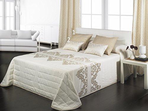Textilhome - Colcha Bouti jacquard TIFFANY 105 cm. Color oro