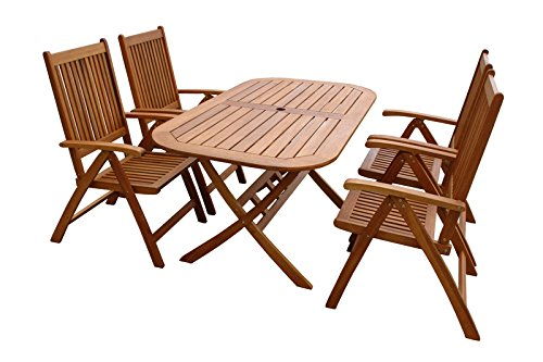 indoba-IND-70063-BASE5-Serie-Bangor-Gartenmbel-Set-5-teilig-aus-Holz-FSC-zertifiziert-4-Gartensthle-verstellbar-und-klappbar-quadratischer-Gartentisch-mit-Schirmffnung