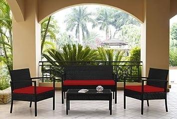 Muebles-Muebles de jardín de mimbre 4piezas juego de sofá de rojo cusions