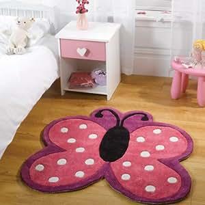 Teppich Kiddy Play - Schmetterling Tupfen - bunt - 90 x 90 cm