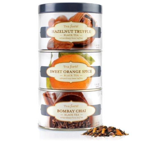 Tea Forte Loose Tea Trio - Black Sampler -Hazelnut