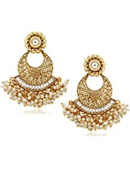 VK Jewels Kundan Pearl Drops Gold Plated Alloy Chandbali Earring Set For Women & Girls -ERZ1298G [VKERZ1298G]