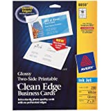 Avery Ink Jet Two-Side Printable Clean Edge Business Cards, White, Glossy, Pack of 200 (8859)
