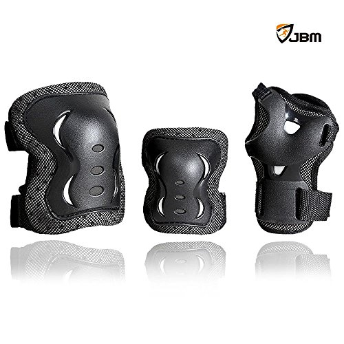 JBM Children Cycling Roller Skating Knee Elbow Wrist Protective Pads--Black / Adjustable Size, Suitable for Skateboard, Biking, Mini Bike Riding and Other Extreme Sports (Skate Protective Gear compare prices)
