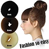 Homeoculture Pack Of Black, Brown And Blonde Color Hair Donut Hair Ring Bun Former Shaper Styler Tool New (All...