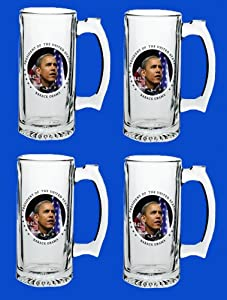 Set Of 4 Barack Obama Commemorative Beer Mug Glasses Steins - In Stock, Ships Right Away