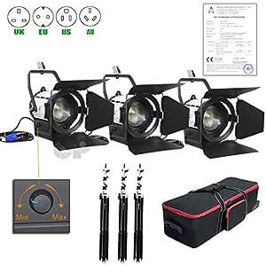 Amazon.com : Top-fotos Pro Flim 3x100w LED Studio Fresnel Spot Light