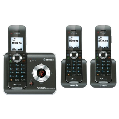 VTech DS6421-3 DECT 6.0 Cordless Phone, Black/Silver, 3 Handsets