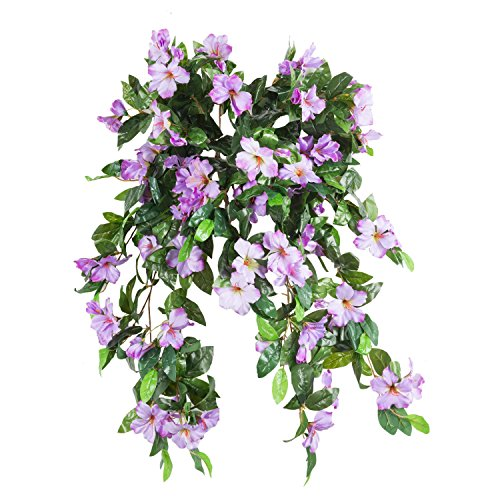Azalea Artificial Silk Flowers Hanging Plant Vine for DIY Garland Home Party Wedding Garden Decor Pack of 2 (Purple)