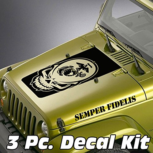 Jeepazoid Skull Marines Globe & Anchor Semper Fidelis Jeep Wrangler Blackout Decal Kit