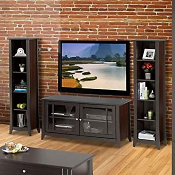 Elegance Entertainment Center - Small TV Stand with Bookcases