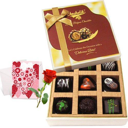 Decadent Dark Chocolate Box With Love Card And Rose - Chocholik Belgium Chocolates