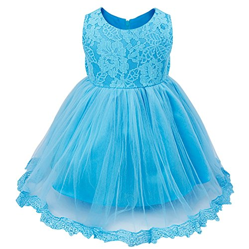 FEESHOW Baby Girl Lace Flower Princess Wedding Party Pageant Birthday Tutu Dress Size 9-12 Months Blue