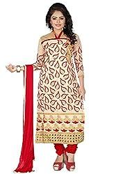 JHEENU Chiku Red Women's Chanderi unstitched Straight Salwar Suit dress material