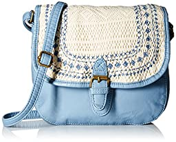 T-Shirt & Jeans Washed with Crochet Cross Body Bag, Blue, One Size